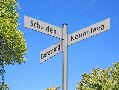 Fotografía  Wegweiser Schulden, Beratung, Neuanfang