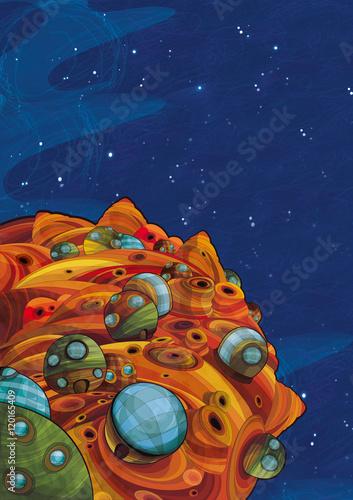 Cadres-photo bureau Cosmos Cartoon space - foreign civilization - astronomy for kids - illustration for children