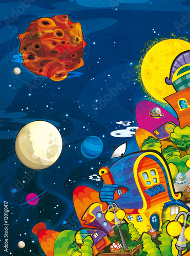 Foto op Canvas Kosmos cartoon scene with some city on other planet - illustration for children