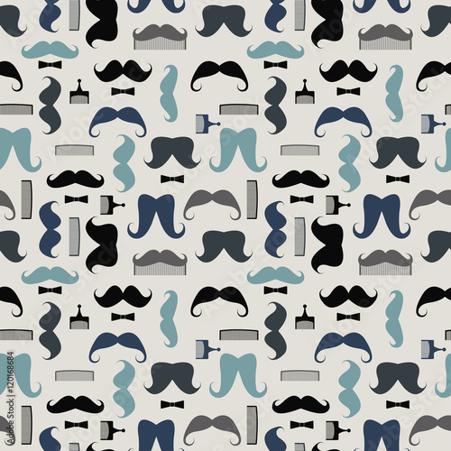 Vector seamless pattern with mustaches, mustache combs and bows Poster Mural XXL