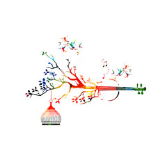 Creative music style template vector illustration, colorful violoncello, nature inspired instrument background with birds. Design for posters, brochures, banners, concert, music festival, music shop