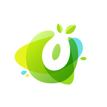 Letter O Logo At Green Watercolor Splash Background.