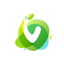 Letter V Logo At Green Watercolor Splash Background.