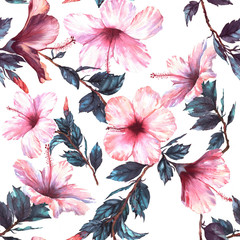 Panel Szklany Podświetlane Egzotyczne Hand-drawn watercolor floral seamless pattern with the tender white and pink hibiscus flowers. Natural tropical and vibrant repeated print for textile, wallpaper etc