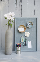 Mood Board With Photos, Colored Pencils, Hibiscus Blossoms, Vase