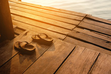 Summer Vacation Concept Sandals Shoes Vintage On Wooden Backgrou