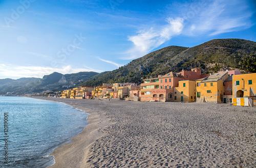 Foto auf Gartenposter Ligurien Colorful fisherman's houses on the sand beach lagoon on italian Riviera in Varigotti, Savona, Liguria, Italy