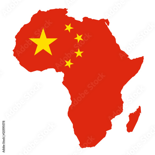 Photographie  METAPHOR MEANING: Map of Africa in colors of China as metaphor of Chinese econom