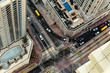 Colorful aerial view of a road intersection in a big city. Urban landscape of Dubai Marina district in UAE with traffic and luxury hotels. Vintage effect.
