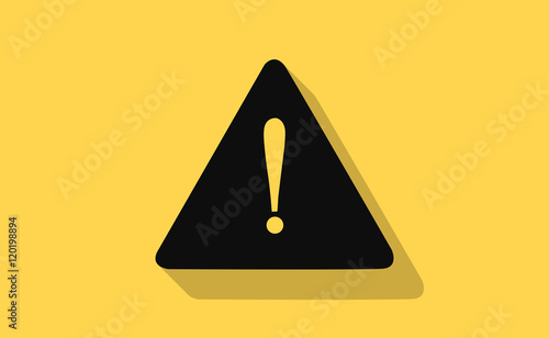 Photo  Vector warning sign with long shadow on flat background