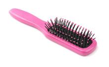 Pink Wood Hairbrush Isolated