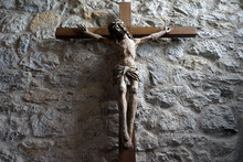 Wooden Crucifix On The Stone W...