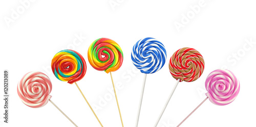 Colorful spiral lollipops on white background Poster Mural XXL