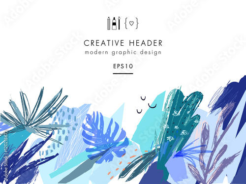 Creative Universal Floral Header In Tropical Style Modern Graphic