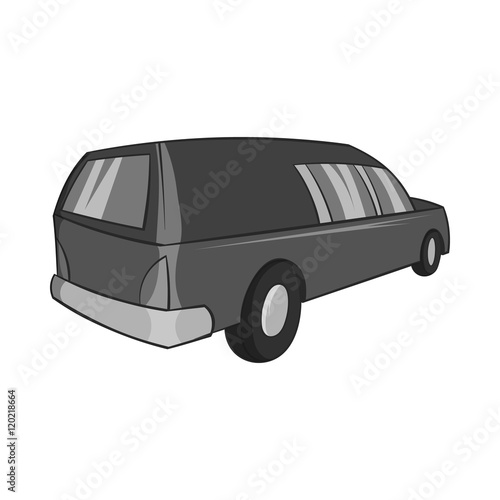 Fotografie, Obraz  Hearse icon in black monochrome style isolated on white background