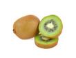 Fresh kiwi fruit on a white background