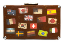 Travel Suitcase With Stickers Isolated