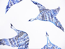 Crane Birds Flying Watercolor Painting Hand Drawn Japanese Style