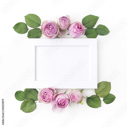 Purple Roses On White Background Flat Lay Frame Wreath