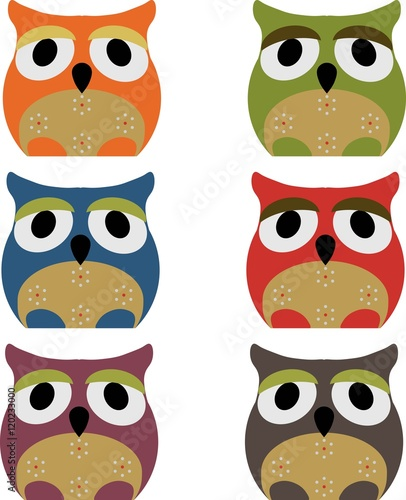 Canvas Prints Owls cartoon Vector set of a colorful owls on a white background