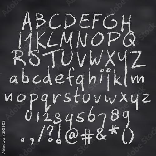 Vector illustration of alphabet in chalk Fototapete