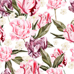 Fototapeta Watercolor seamless pattern with flowers tulip . illustrations