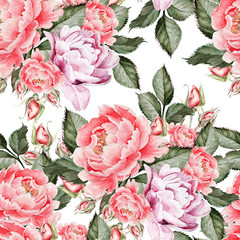 Fototapeta Watercolor pattern with peony flowers and roses . Illustration