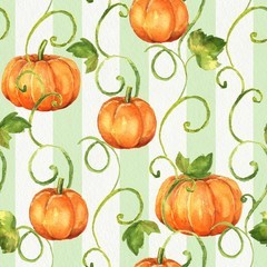 Panel Szklany Podświetlane Warzywa Pumpkins. Seamless watercolor pattern. Background with paper texture 10