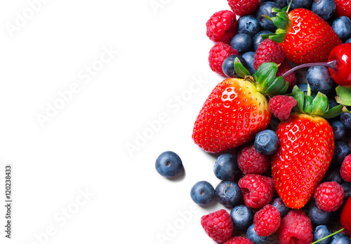 Berries border isolated on white. Summer or Organic berry closeup Canvas Print