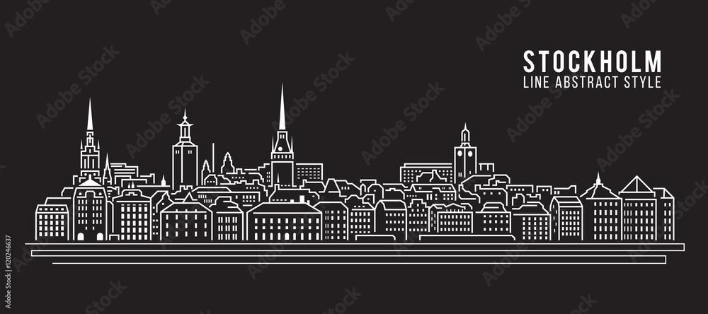 Valokuva Cityscape Building Line art Vector Illustration design - Stockholm city