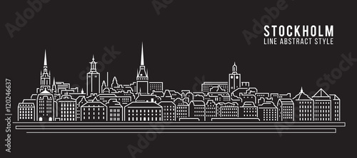 Cityscape Building Line art Vector Illustration design - Stockholm city Canvas Print