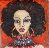 Czarnej kobiety portret przy abstrakcjonistycznym grunge tłem - 120252493