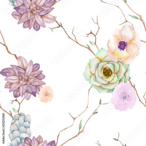 Cotton fabric A seamless pattern with the succulents, flowers, leaves and branches, on a white background