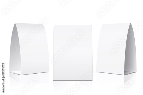 Blank Table Tent Isolated On White Background Paper Vertical Cards With Reflections