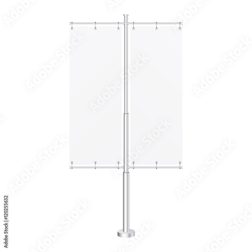 White Outdoor Panel Flag With Ground Fillable Water Base