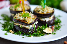 Appetizer Of Eggplant And Nut Sauce, Cilantro And Garlic