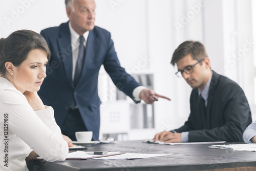 Discouraging atmosphere in the workplace Canvas Print