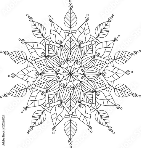 Vector ornate mandala illustration for coloring book Canvas Print