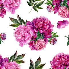 Obraz na Szkle Hand drawn pink peonies bouquet seamless pattern