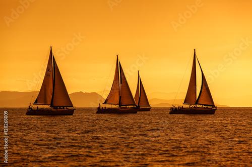 Poster Zeilen żeglowanie na morzu podczas zachodu słońca