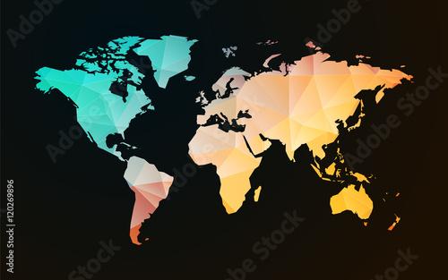 modern world map pastel geometric shape