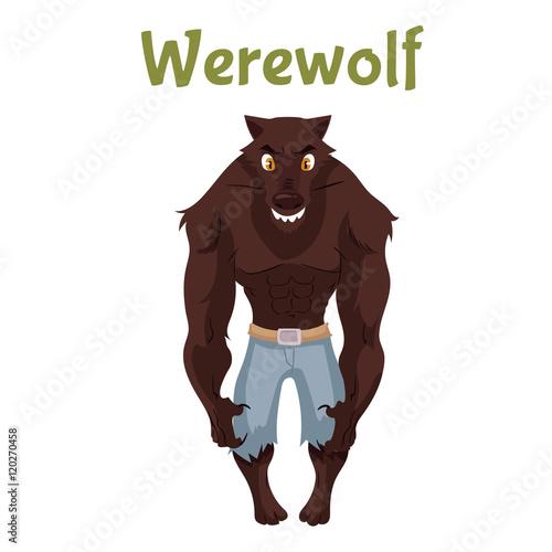 Scary werewolf, Halloween costume idea, cartoon style vector