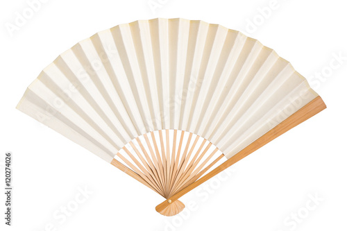 blank traditional folding fan isolated on white - 120274026