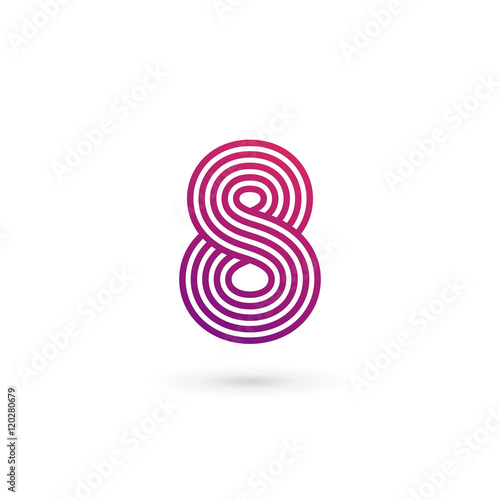 Number 8 logo icon design template elements Wall mural