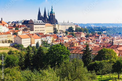Papiers peints Madrid Prague. Architecture cityscape of top view of the city