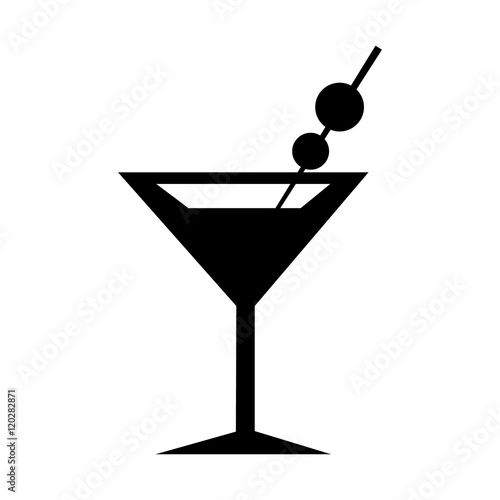 Cuadros en Lienzo  Martini Glass Icon. Silhouette vector illustration