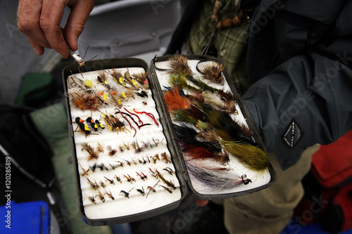 A guide picks a fishing lure while fly fishing on the Bow River in Calgary, Alberta, Canada Poster