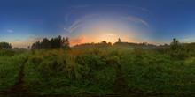 Foggy Sunrise On Meadow Spheri...