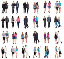 Collection Back View Of Walking Young Couple . Rear View People Collection. Backside View Of Person. Isolated Over White Background. Young Couples In Official And Street Clothes Moved