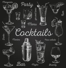 FototapetaSet sketch cocktails and alcohol drinks hand drawn illustration